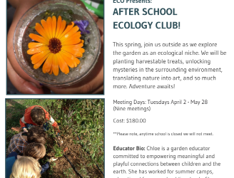 Registration for spring Ecology Club (aka Garden Club) Is Now Open!
