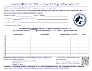 Sponsorship Collection Form Screenshot